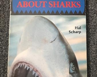 1979 ABOUT SHARKS Vintage Paperback Book! Hal Scharp! Great White Shark!