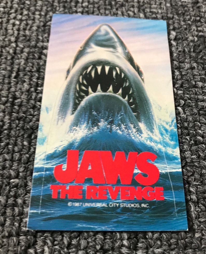 Rare 1987 JAWS: The Revenge Small Promo Sticker! Great White Shark!