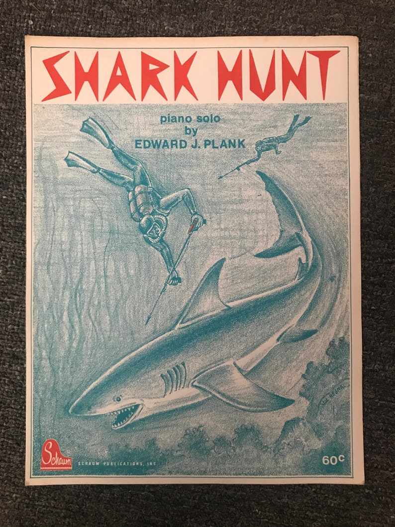 Vintage, 1975 Shark Hunt Piano Solo Sheet Music! JAWS Craze! Great White  Shark!