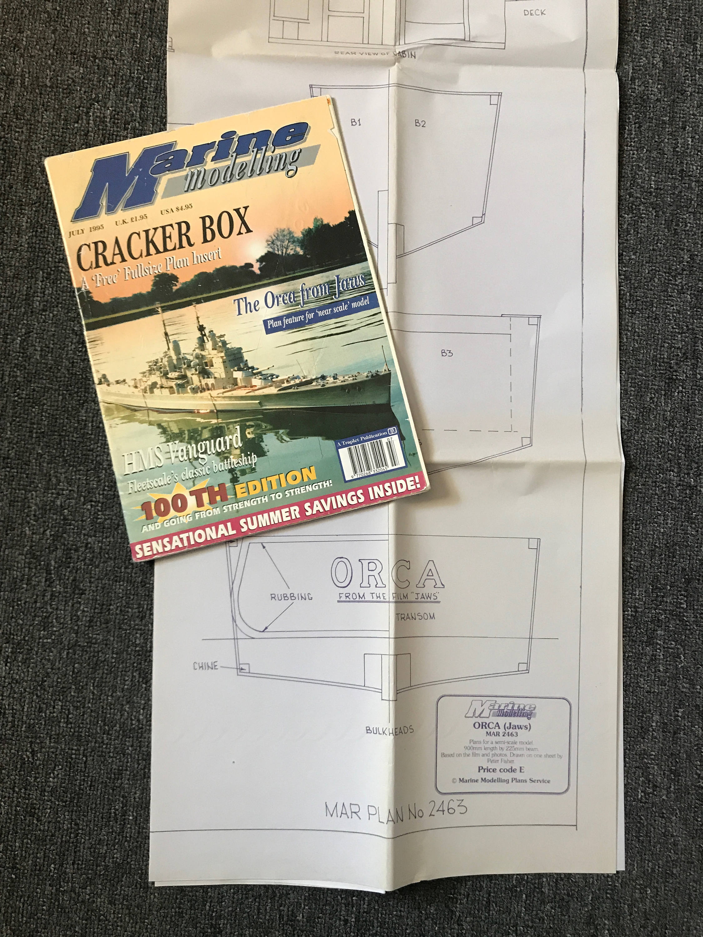 Very Rare JAWS Orca Boat Model Blueprint & Marine Modeling Magazine With  Building Article! Huge 51