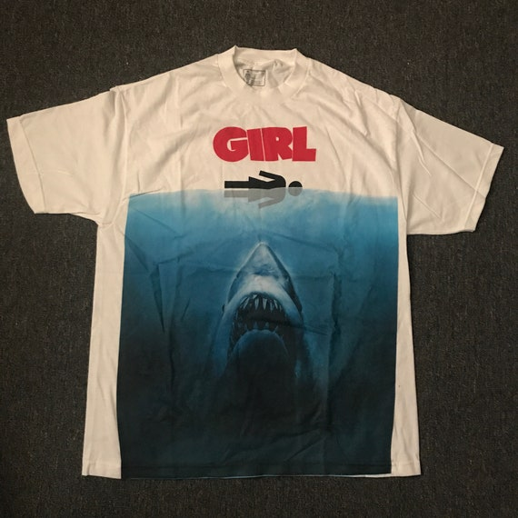 Jaws Floral Shark Adult T Shirt Great Classic Movie