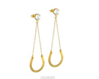 Long Earrings Statement Earrings Gold Earrings White Earrings Wedding Jewelry Gemstone Jewelry Unique Women Gift Anniversary Gift Handmade