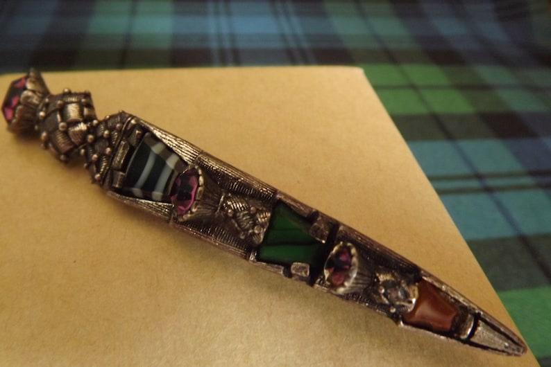 Kilt Pin Brooch Large Dirk Scottish  Miracle 1950 Vintage Faux Agate Shawl Pin Wrap Plaid Amethyst
