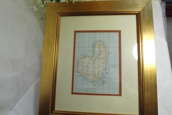 Scottish Isle Of Eigg Framed Vintage Wall Map West Coast Etsy