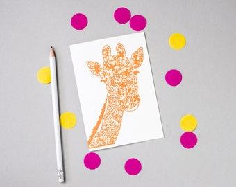 Giraffe Papercut Card