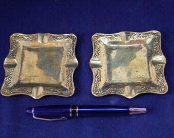 Set of 2 Ornate Brass Ash Trays, Vintage Brass Ash Trays, Ash Tray, Ornate Brass Ashtrays