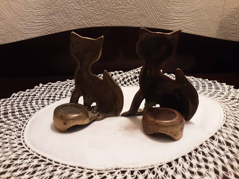 Vintage Pair of Brass Cat candle holders