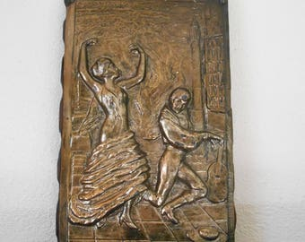 Vintage Brass Wall Plaque - Flamenco dancer and musician