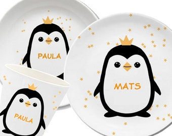 Penguin, children's plate with name, children's tableware personalized, gift birth, baptism, king penguin