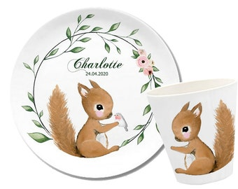 Children's Harness Personalized, Children's Plate Name, Melamine Mug, Gift Birth, Baptism, Squirrel