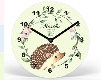 Hedgehog, Children's Wall Clock Personalized,Children's Wall Clock Name, Wall Clock Birth Dates, Last Minute Gift Birth, Baptism, Schooling,Mecki