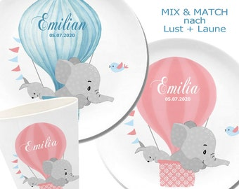 Children's tableware personalized, children's plate name, date of birth, gift birth, baptism, elephant, coral, turquoise, gray