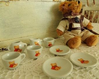 Vintage Ceramic Pottery, Vintage Toy, Tea Time Set, Teddy Bear Set, Vintage Miniatures, Cups, Plates, Milk Jug, Sugar Bowl, Collectibles
