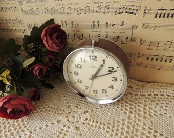 Vintage Mechanical Alarm Clock, Prim Czechoslovakia Czech, Metal Body Mechanism, Vintage Home Decor Decoration Ornament, Collectibles