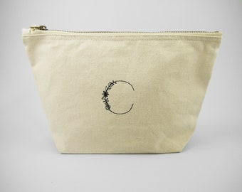 232ea94651 Embroidered Alphabet Canvas Cosmetic Bag