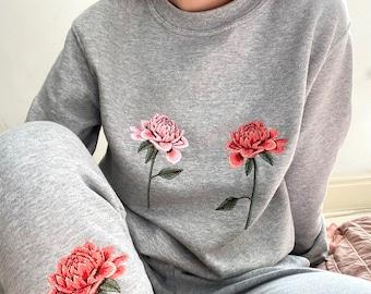 Embroidered Chrysanthemum Floral Lounge Set