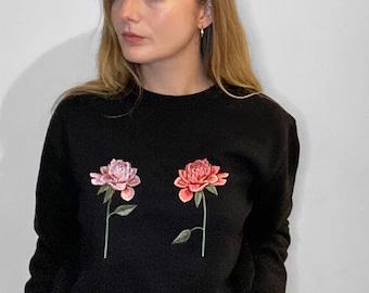 Oversized Embroidered Chrysanthemum Black Jumper