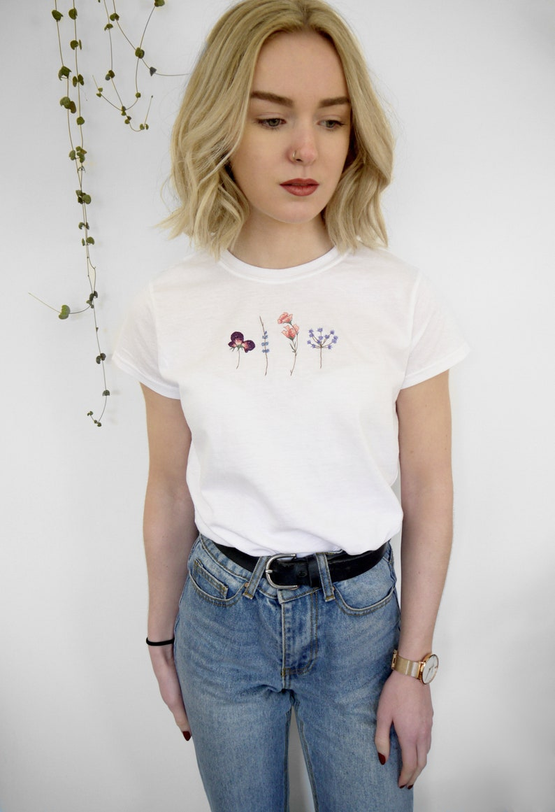 Embroidered Wild Flowers T-Shirt image 0