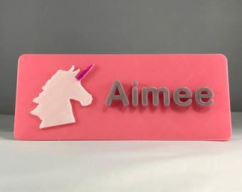 Personalised Unicorn 3D Printed Door Plaque   Bedroom   Children