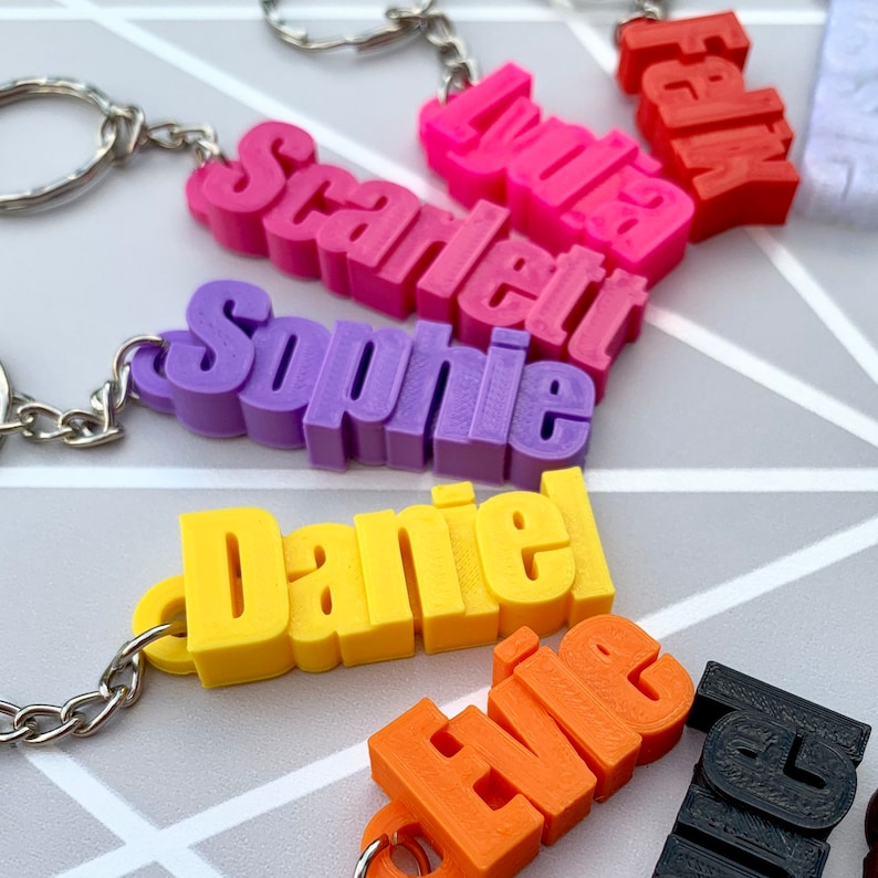 Personalised Keyring  Personalized Keychain  3D Printed  image 0