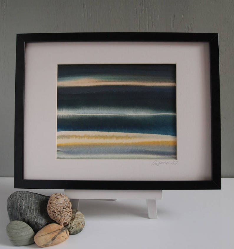 Original Abstract Seascape Painting Framed Wall Art : Blue 06 image 0