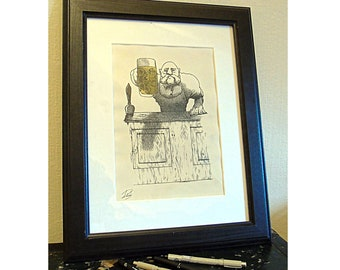 Barman - The Landlord / limited edition print / Prohibition style Artwork/ 1920's Wall Art/ A4/ Great Drinkers Series/ Good Beer Gift