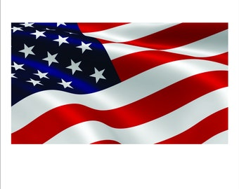 50a3e4ec67b8 Waving American Flag Full Color Decal for 4th of July or all year long.