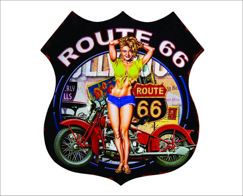 Route 66, Girl, Motorcycle Decal