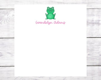 Personalized Notepad - Frog - Name - Pink and Green - Birthday - Christmas - Gift - Party Favor - Green - Free Shipping