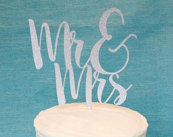 Mr and Mrs Wedding Cake Topper - Silver Glitter - Wedding Reception - Bride and Groom - Wedding Shower - Bridal Shower - Engagement