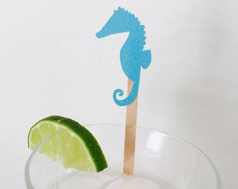 15 Seahorse Swizzle Sticks - Drink Stir Sticks - Under the Sea - Nautical - Beach - Ocean - Birthday Party - Mermaid Party - Baby Shower