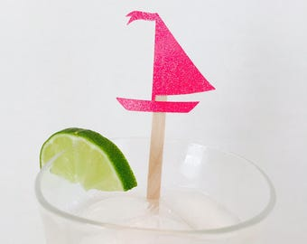 15 Sailboat Swizzle Sticks - Drink Stir Sticks - Nautical - Bridal Shower - Birthday - Baby Shower - Last Sail Before the Veil - Ocean