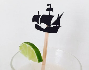 15 Pirate Ship Swizzle Sticks - Drink Stir Sticks - Ahoy Matey - Pirate Party - Birthday Party - Boy - Gasparilla