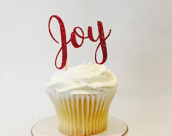 12 Christmas Cupcake Toppers - Joy - Red Glitter - Christmas Party - Holiday - Party Decorations - Cake Topper