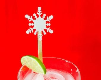 15 Christmas Swizzle Sticks - Drink Stirrers - Snow - Snowflake - Winter - Christmas Party - Cheers - Stir Sticks - Holiday Party