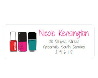 Return Address Labels - Nail Polish - Personalized - Custom - Red, Pink, Teal and Black