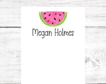 Personalized Notepad - Watermelon - Summer - Pink and Green - Birthday - Christmas - Gift - Party Favor - Free Shipping