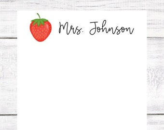 Personalized Notepad - Strawberry - Red and Green - Teacher Gift - Birthday - Christmas - Gift - Party Favor - Free Shipping