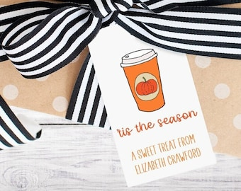 Personalized Gift Tags - Pumpkin Spice - Fall - Pumpkin - Coffee Gift - Party Favor - Digital - Printed - Free Shipping