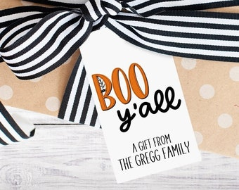 Personalized Gift Tags - Halloween - Boo - Black and Orange - Gift - Family - Holiday - Ghost - Kid - Class - Trick or Treat - Free Shipping