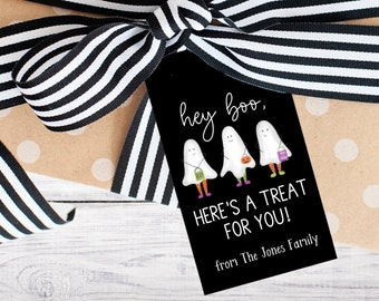 Personalized Gift Tags - Halloween - Boo - Black - Orange - Gift - Boo - Party Favor - Class - Kids - Trick or Treat - Funny - Free Shipping