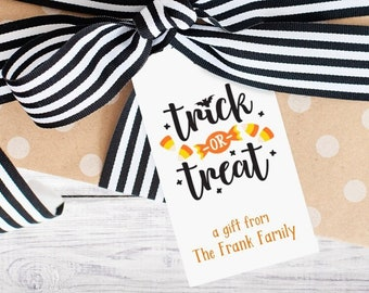 Personalized Gift Tags - Halloween - Spook - Black - Orange - Gift - Boo - Party Favor - Class - Kids - Trick or Treat -  Free Shipping