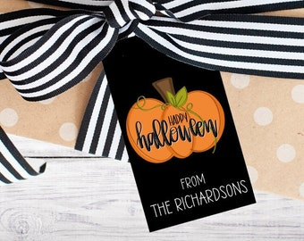 Personalized Gift Tags - Halloween - Boo - Black and Orange - Gift - Pumpkin - Class - Kids - Trick or Treat - Free Shipping