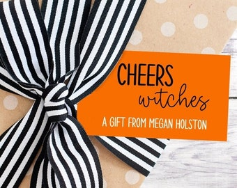 Personalized Gift Tags - Halloween - Boo - Black and Orange - Gift - Cheers Witches - Funny - Trick or Treat - Free Shipping