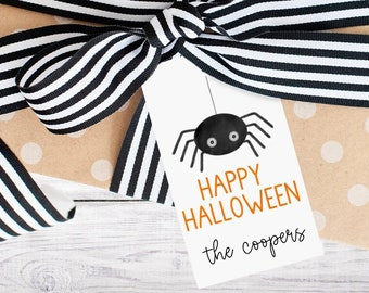 Personalized Gift Tags - Halloween - Boo - Black and Orange - Gift - Spider - Class - Kids - Trick or Treat - Free Shipping