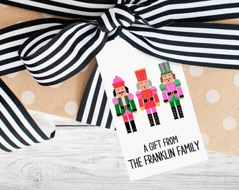 Personalized Gift Tags - Nutcracker - Merry Christmas - Modern - Wine Tag - Party Favor - Digital - Printed - Free Shipping