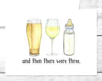 New Baby Card - Bottle - Beer - Wine - Boy - Girl - Baby Shower - New Mom - New Parents - Dad - Baby Shower - Funny - Free Shipping