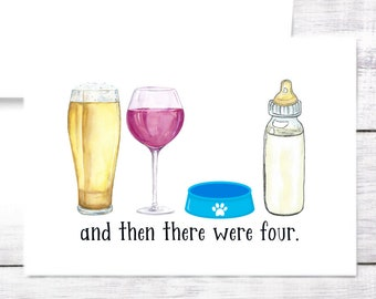 New Baby Card - Bottle - Beer - Red Wine - Dog - Boy - Girl - Baby Shower - New Parents - Mom - Dad - Baby Shower - Funny -Free Shipping