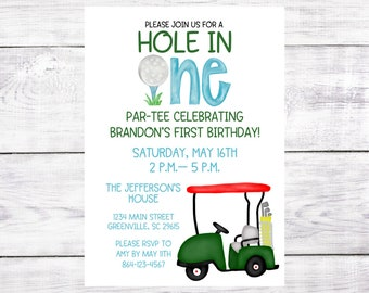First Birthday Party Invitation - Hole in One - Golf Party - Birthday Par-Tee - Printed OR Digital File - Free Shipping
