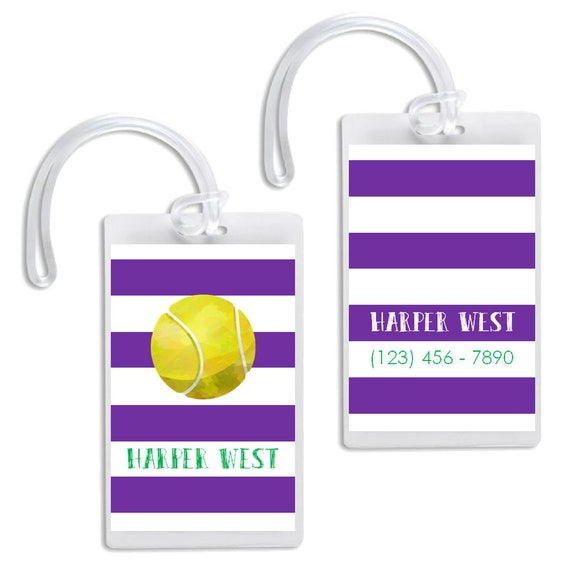 Tennis Sports Bag Tag Personalized Stripes Team Colors Christmas Gift Stocking Stuffer Birthday Gift